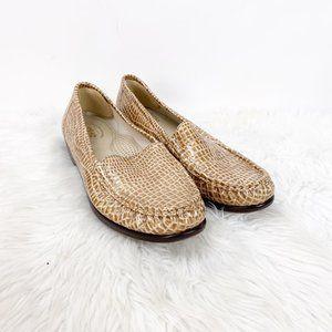 SAS Tan Croc Print Leather Loafer Flats